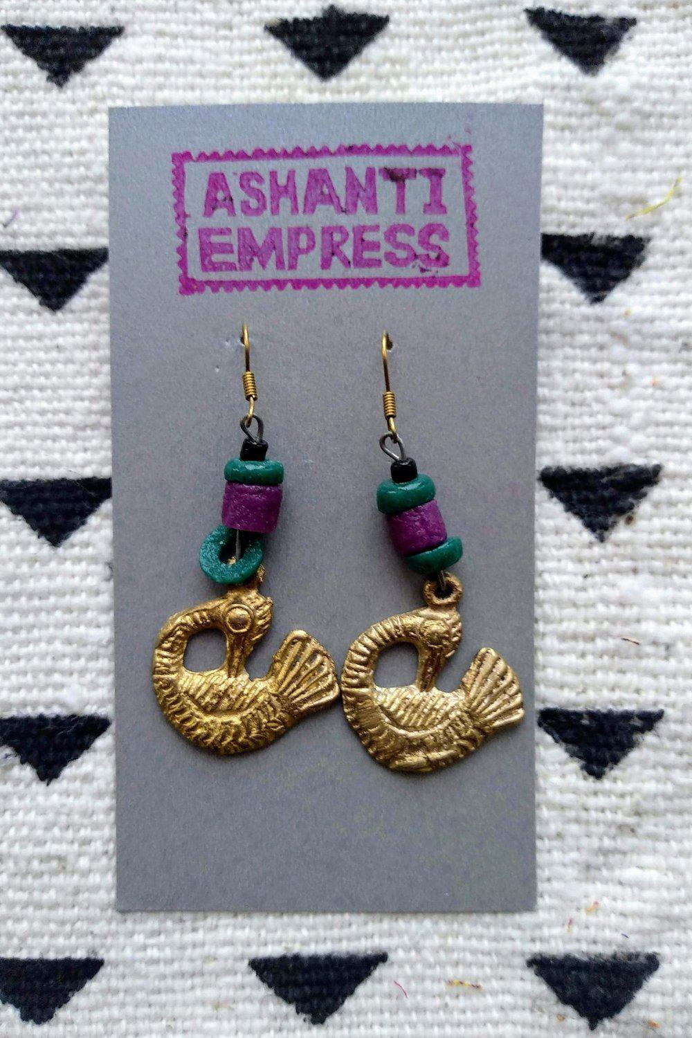 Sankofa Bird Beaded Earrings-accessories-Ashanti Empress