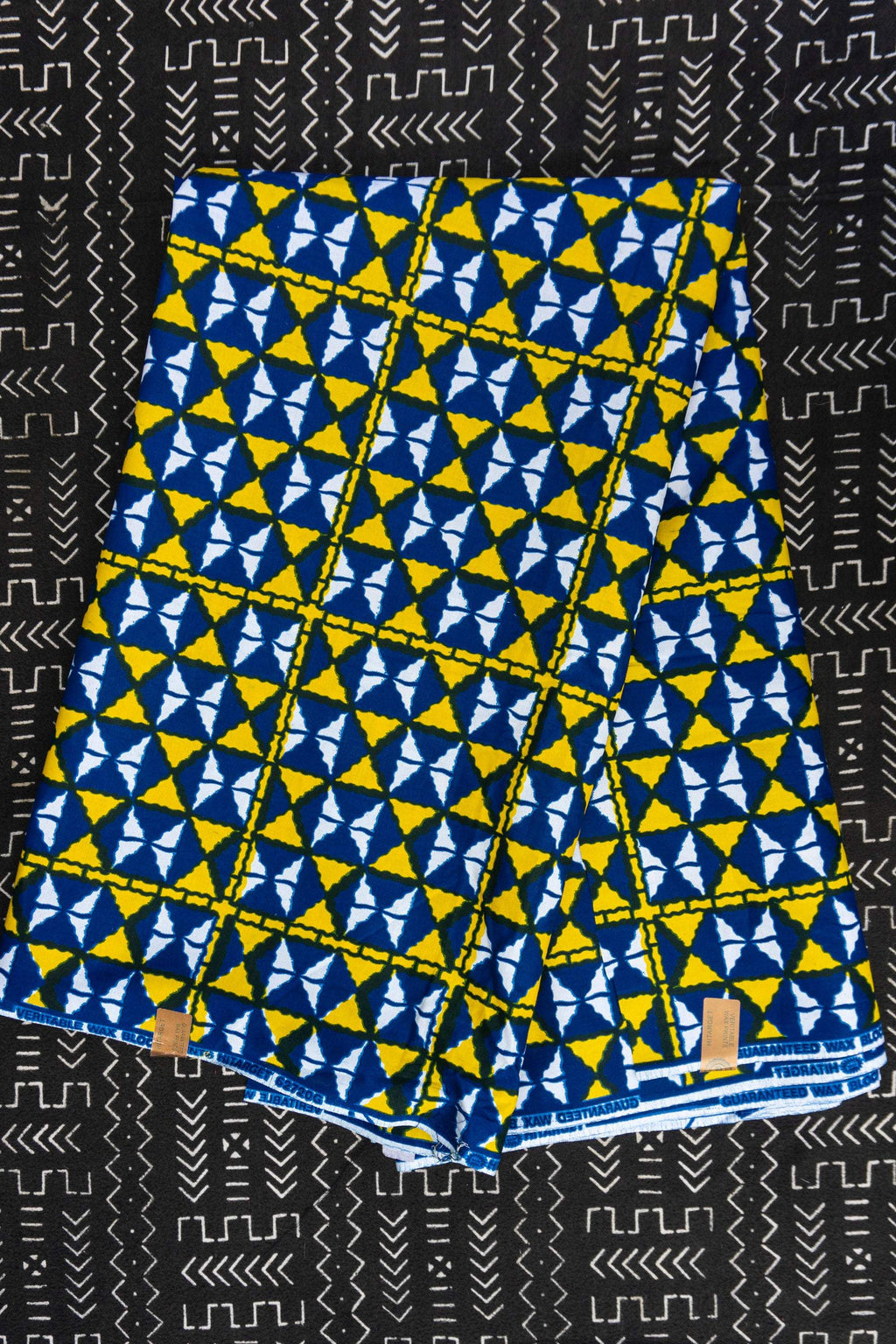 Blue Yellow African Print Fabric / Geometric Ankara Fabric / African fabric by the yard / Quilting / Ankara wax print / Sewing Project