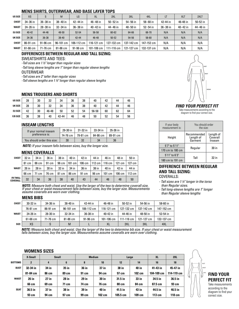 Durable, Comfortable, Functional Workwear - Caterpillar Workwear Fitting and Sizing Guide