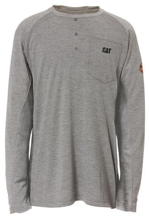 Mens Flame Resistant Long Sleeve Henley in FR Heather Grey