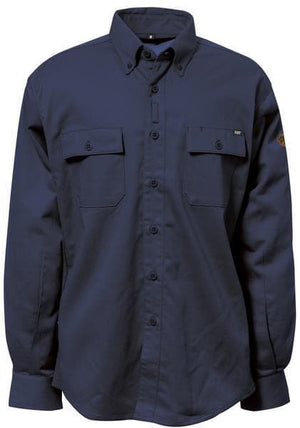 Mens Flame Resistant Work Shirt with Stretch Panels in FR Navy