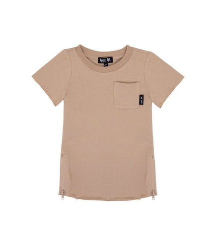 ZIPPED RAW TEE - TAUPE