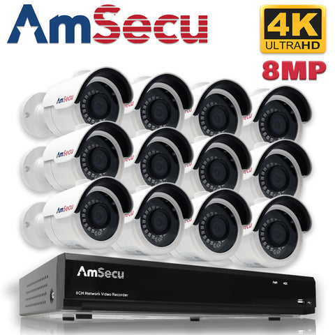 AmSecu Network Video Recorder 1080P UltraHD 4K NVR Kit, (1) 16CH POE NVR & (12) UltraHD 4K 8MP 3.6mm Lens POE Bullet Cameras, Included 4TB Hard Drive, Day and Night Vision IR IP66 Weatherproof H.265