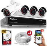 AmSecu 4K 4CH Smart Security Camera System w/ 4 x 4K 8MP 3.6mm Bullet Cameras