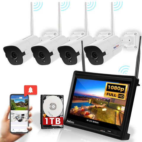 "AmSecu WiFi All in ONE Wireless Security System - 4 Channel 1080P NVR Built in 12"" LCD Display 1TB HDD, (4) 1080P IP Bullet Cameras w/ 3.6mm Lens, Auto-Pair, IR Night Vision IP66 Waterproof H.265"