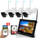 "AmSecu WiFi All in ONE Wireless Security System - 4 Channel 1080P NVR Built in 12"" LCD Display 2TB HDD, (4) 1080P IP Bullet Cameras w/ 3.6mm Lens, Auto-Pair, IR Night Vision IP66 Waterproof H.265"