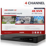 Hikvision DS-7604NI-Q1/4P 4 Channel PoE 4K Plug & Play Network Video Recorder