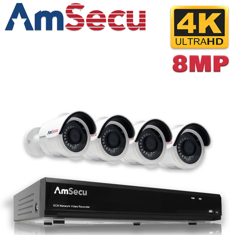 AmSecu Network Video Recorder 1080P UltraHD 4K NVR Kit, (1) 4CH POE NVR & (4) UltraHD 4K 8MP 3.6mm Lens POE Bullet Cameras, Included 1TB Hard Drive, Day and Night Vision IR IP66 Weatherproof H.265