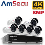 AmSecu Network Video Recorder 1080P UltraHD 4K NVR Kit, (1) 8CH POE NVR & (6) UltraHD 4K 8MP 3.6mm Lens POE Bullet Cameras, Included 2TB Hard Drive, Day and Night Vision IR IP66 Weatherproof H.265