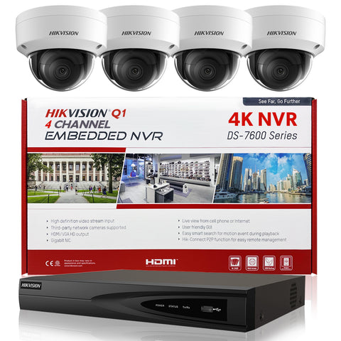 Hikvision DS-7604NI-Q1/4P 4K NVR Bundle w/ 4 x Hikvision DS-2CD2143G0-I 2.8mm Dome IP Cameras