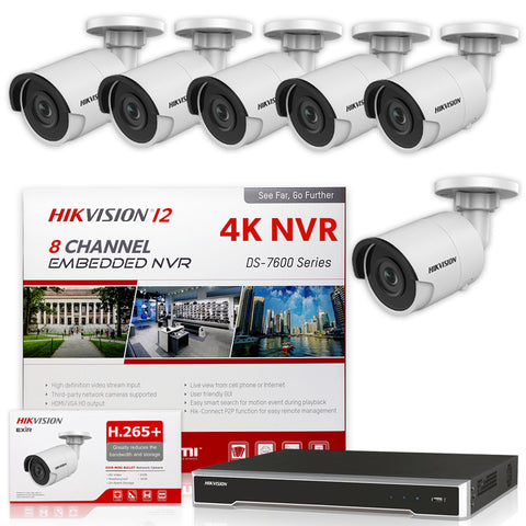 Hikvision DS-7608NI-I2/8P 4K NVR Bundle w/ 6 x Hikvision DS-2CD2043G0-I 4.0mm Bullet IP Cameras