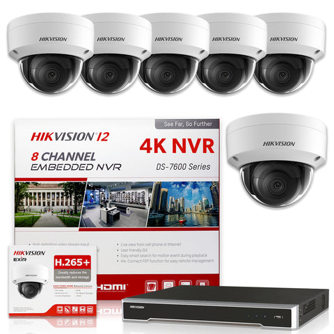 Hikvision DS-7608NI-I2/8P 4K NVR Bundle w/ 6 x Hikvision DS-2CD2143G0-I 2.8mm Dome IP Cameras