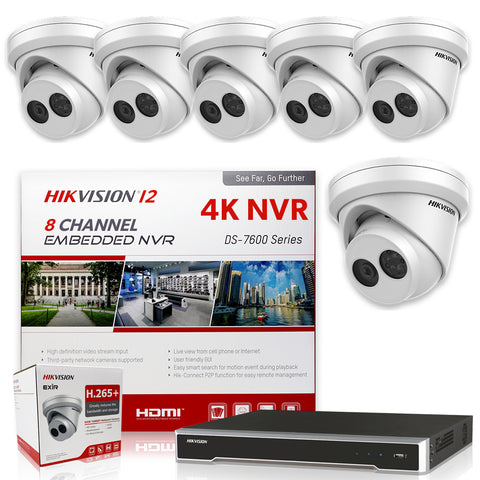 Hikvision DS-7608NI-I2/8P 4K NVR Bundle w/ 6 x Hikvision DS-2CD2343G0-I 2.8mm Turret IP Cameras