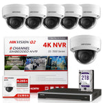 Hikvision DS-7608NI-Q2/8P 4K NVR Bundle w/ 6 x Hikvision DS-2CD2143G0-I 2.8mm Dome IP Cameras