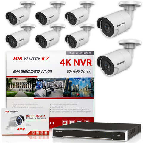Hikvision DS-7616NI-K2/16P 4K NVR Bundle w/ 8 x Hikvision DS-2CD2043G0-I 4.0mm Bullet IP Cameras