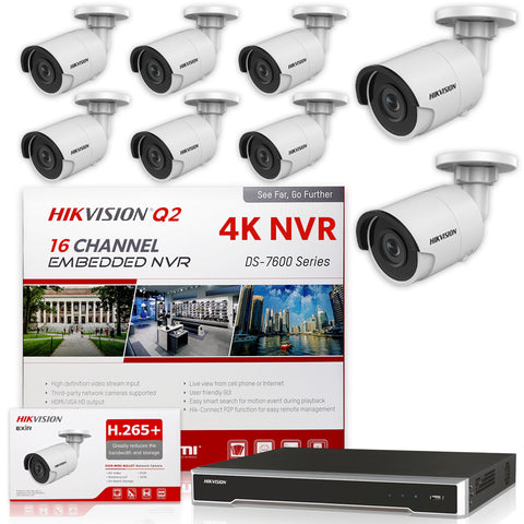Hikvision DS-7616NI-Q2/16P 4K NVR Bundle w/ 8 x Hikvision DS-2CD2043G0-I 4.0mm Bullet IP Cameras
