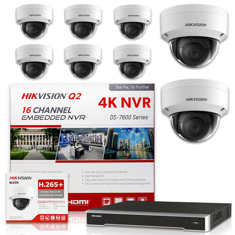Hikvision DS-7616NI-Q2/16P 4K NVR Bundle w/ 8 x Hikvision DS-2CD2143G0-I 2.8mm Dome IP Cameras