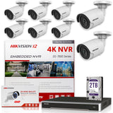 Hikvision DS-7616NI-I2/16P 4K NVR Bundle w/ 8 x Hikvision DS-2CD2043G0-I 4.0mm Bullet IP Cameras
