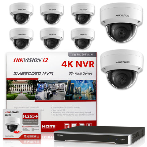 Hikvision DS-7616NI-I2/16P 4K NVR Bundle w/ 8 x Hikvision DS-2CD2143G0-I 2.8mm Dome IP Cameras
