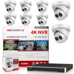 Hikvision DS-7616NI-I2/16P 4K NVR Bundle w/ 8 x Hikvision DS-2CD2343G0-I 2.8mm Turret IP Cameras