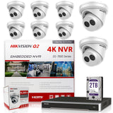 Hikvision DS-7616NI-Q2/16P 4K NVR Bundle w/ 8 x Hikvision DS-2CD2343G0-I 2.8mm Dome IP Cameras