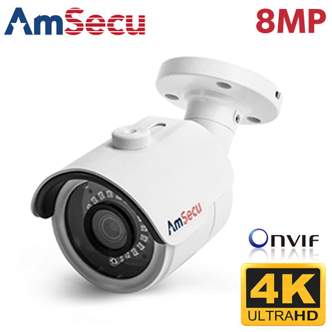AmSecu UltraHD 4k (8MP) 3.6mm Bullet PoE IP Security Camera