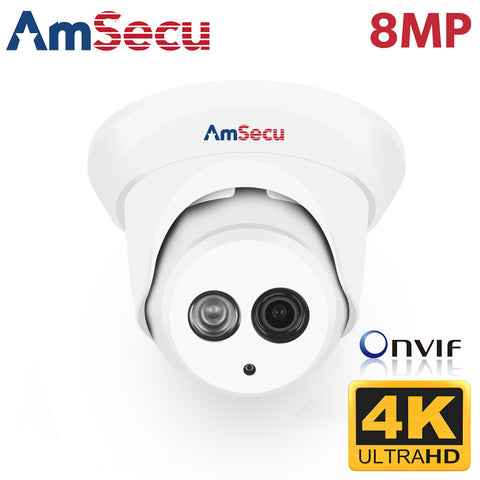 AmSecu UltraHD 4k (8MP) 2.8mm Turret/Dome PoE IP Security Camera