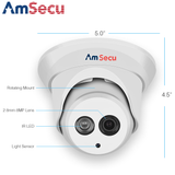 AmSecu UltraHD 4k (8MP) Turret/Dome PoE IP Security Camera, Day/Night/IR 2.8mm Lens (CA-IP-D28R)