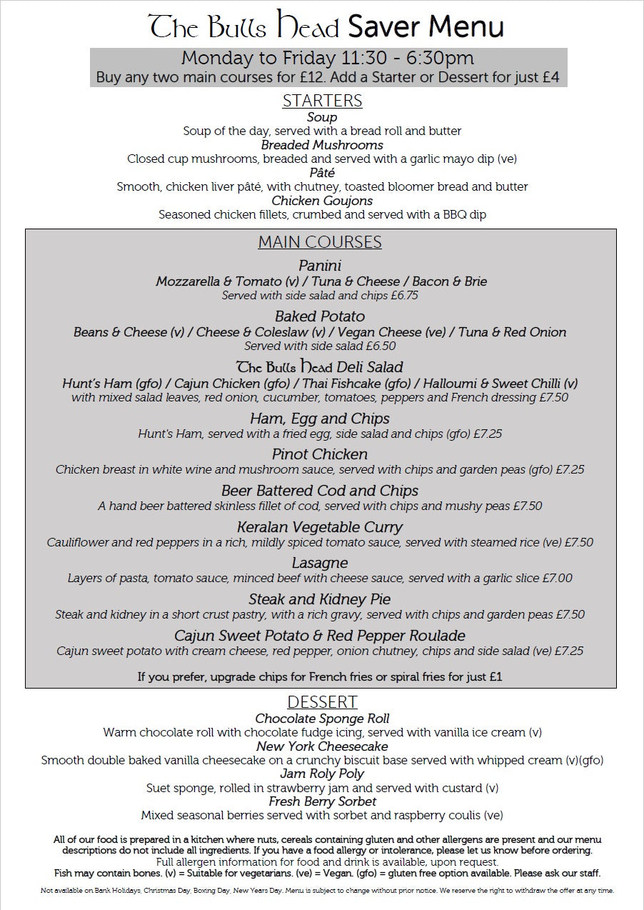 Two for £12 Saver Menu | The Bulls Head Denby