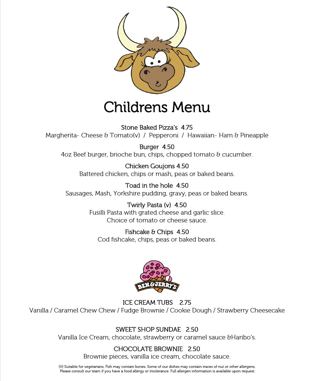 Children's Menu - The Bulls Head Denby