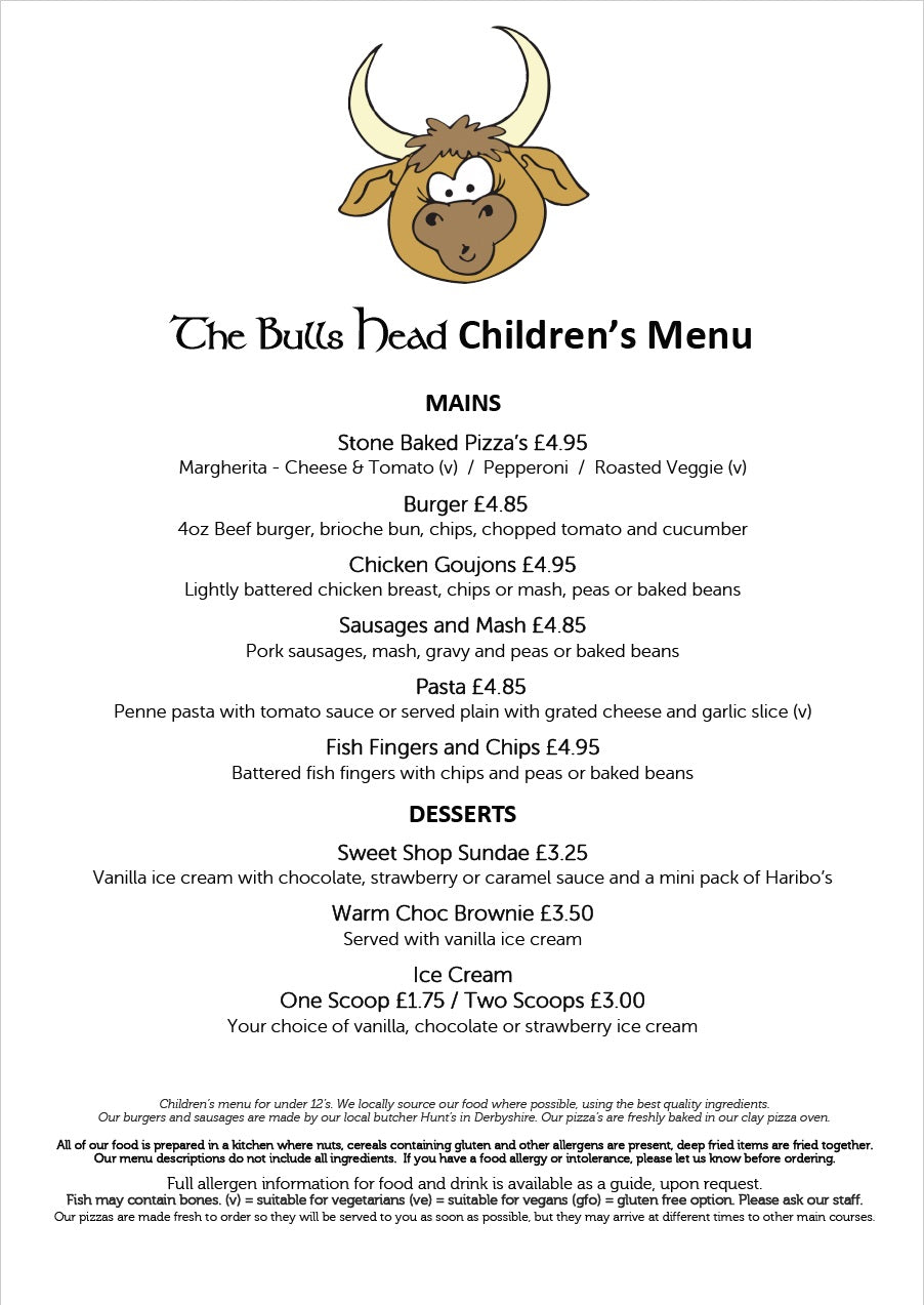 Children's Menu September 2020 | The Bulls Head Denby