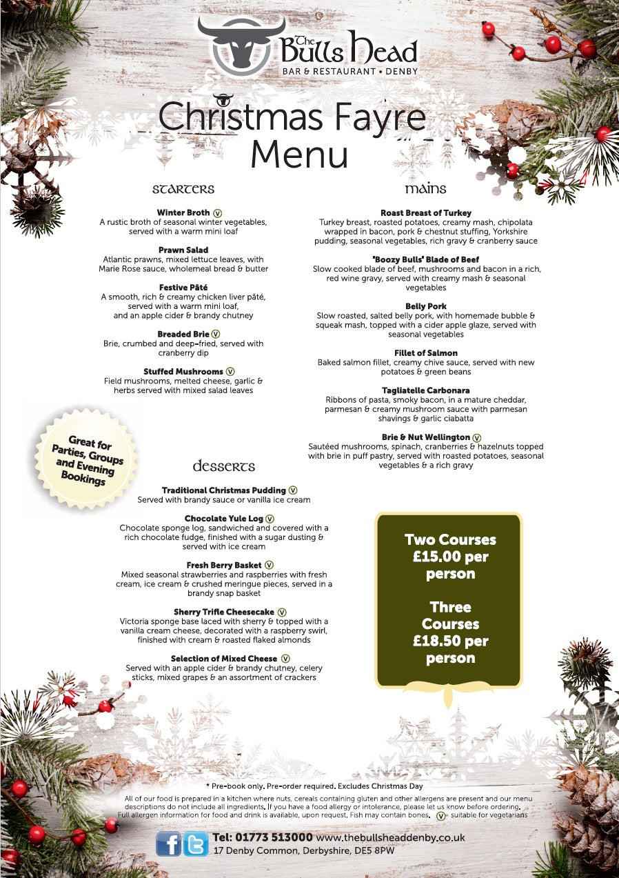 Christmas Fayre Menu 2018 | The Bulls Head Denby