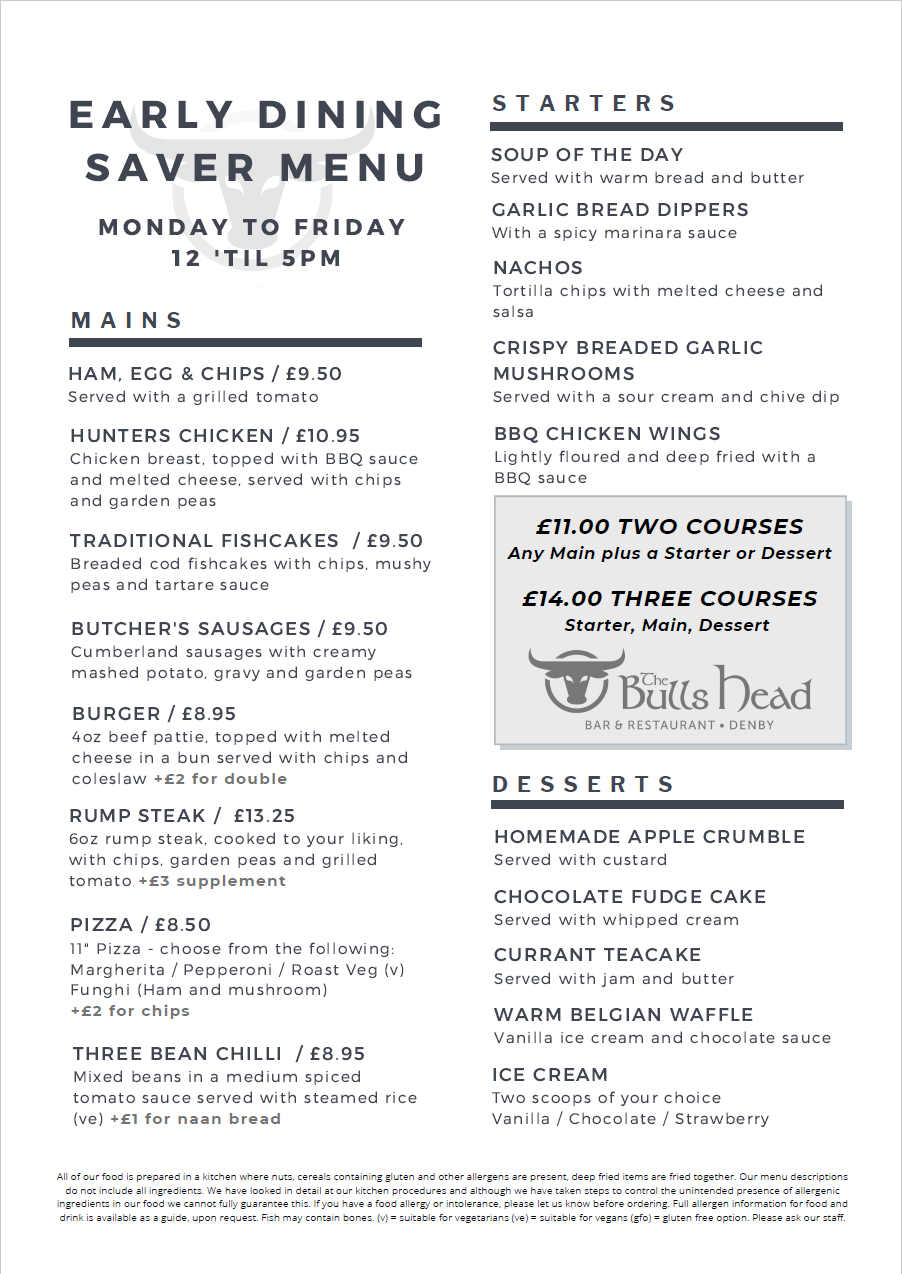 Early Dining Saver Menu | The Bulls Head Denby