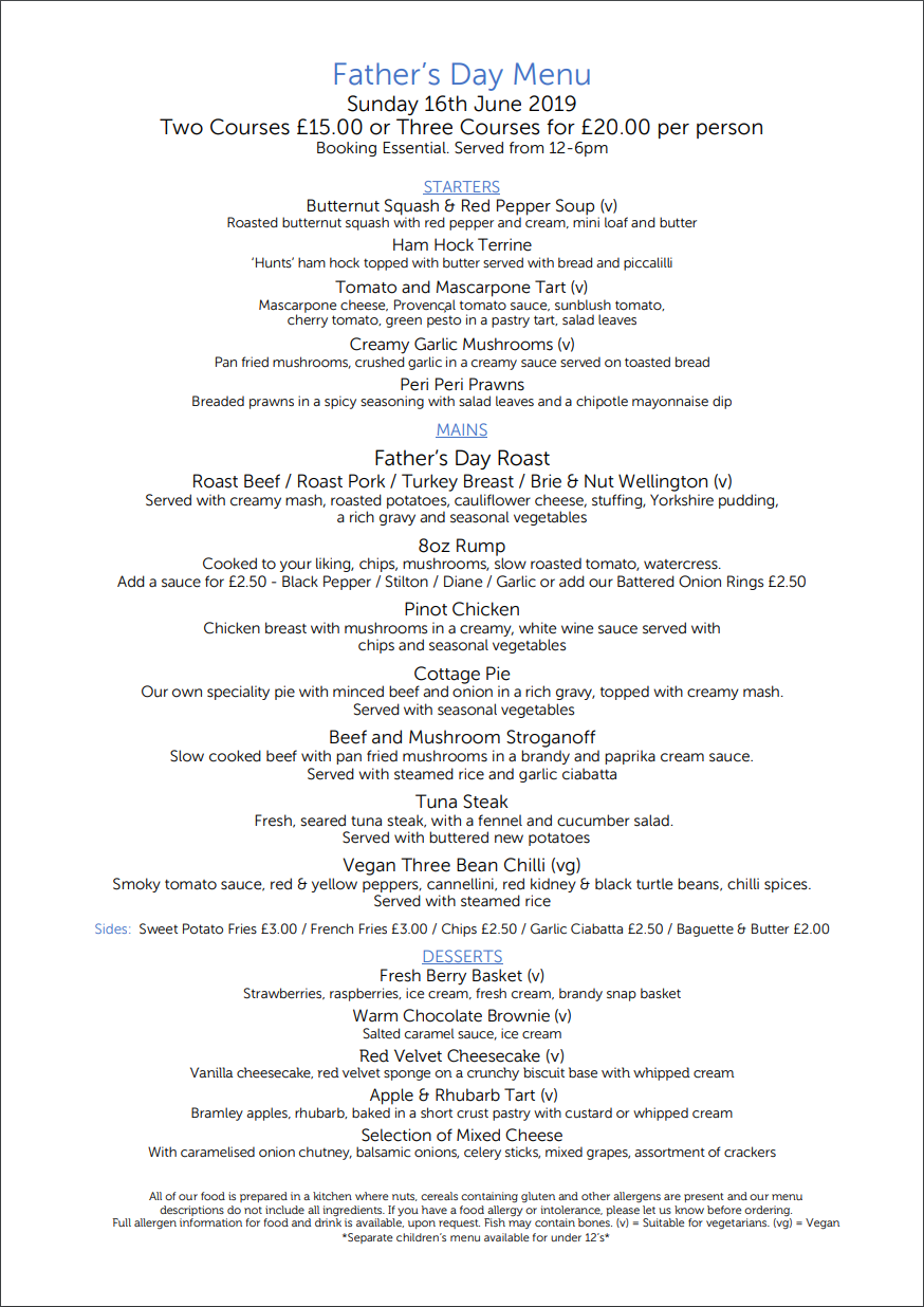 Fathers Day Menu 2019 | The Bulls Head Denby
