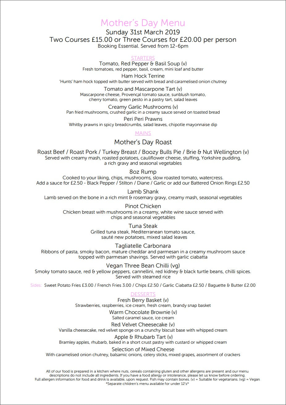 Mothers Day Menu | The Bulls Head Denby
