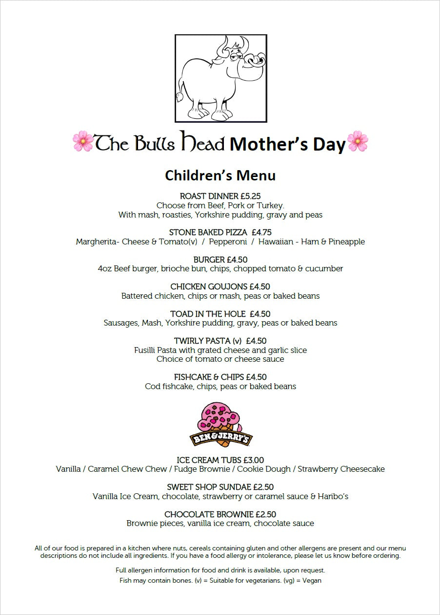 Mother's Day Children's Menu 2019 | The Bulls Head Denby