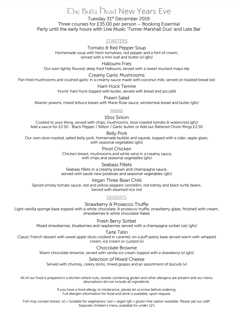 New Years Eve Menu 2019