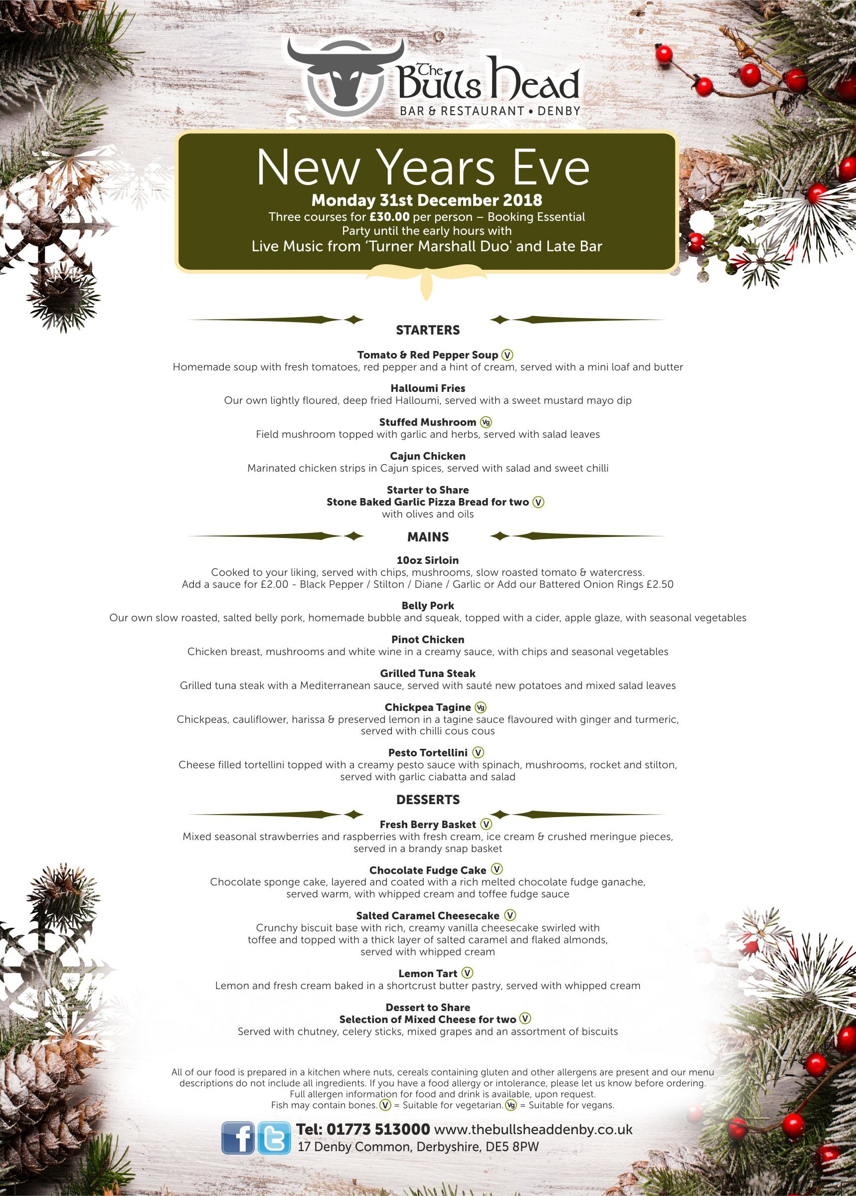 New Years Eve Menu 2018