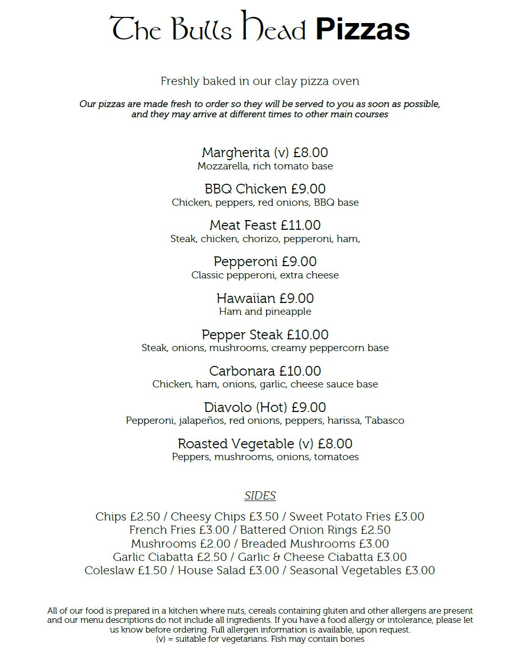 The Bulls Head Denby Pizza Menu