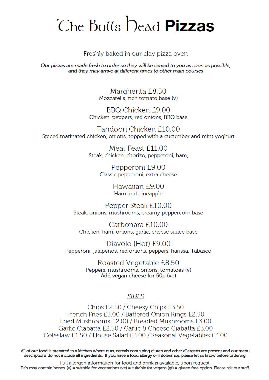 Pizza Menu | The Bulls Head Denby