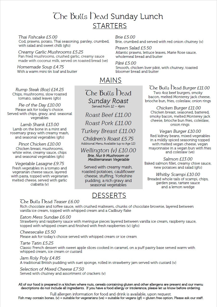 Sunday Lunch Menu | The Bulls Head Denby