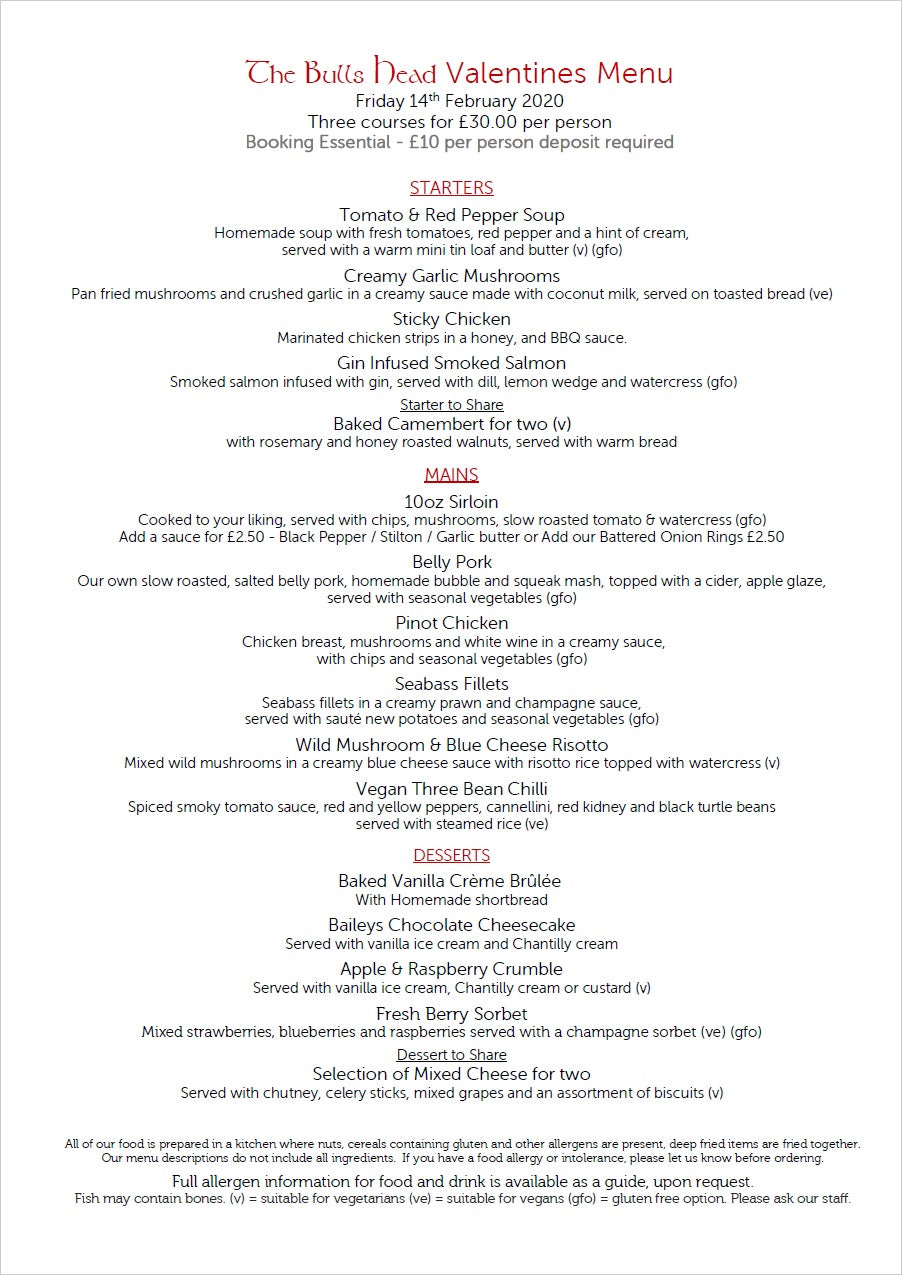 Valentine's Menu 2020 | The Bulls Head Denby