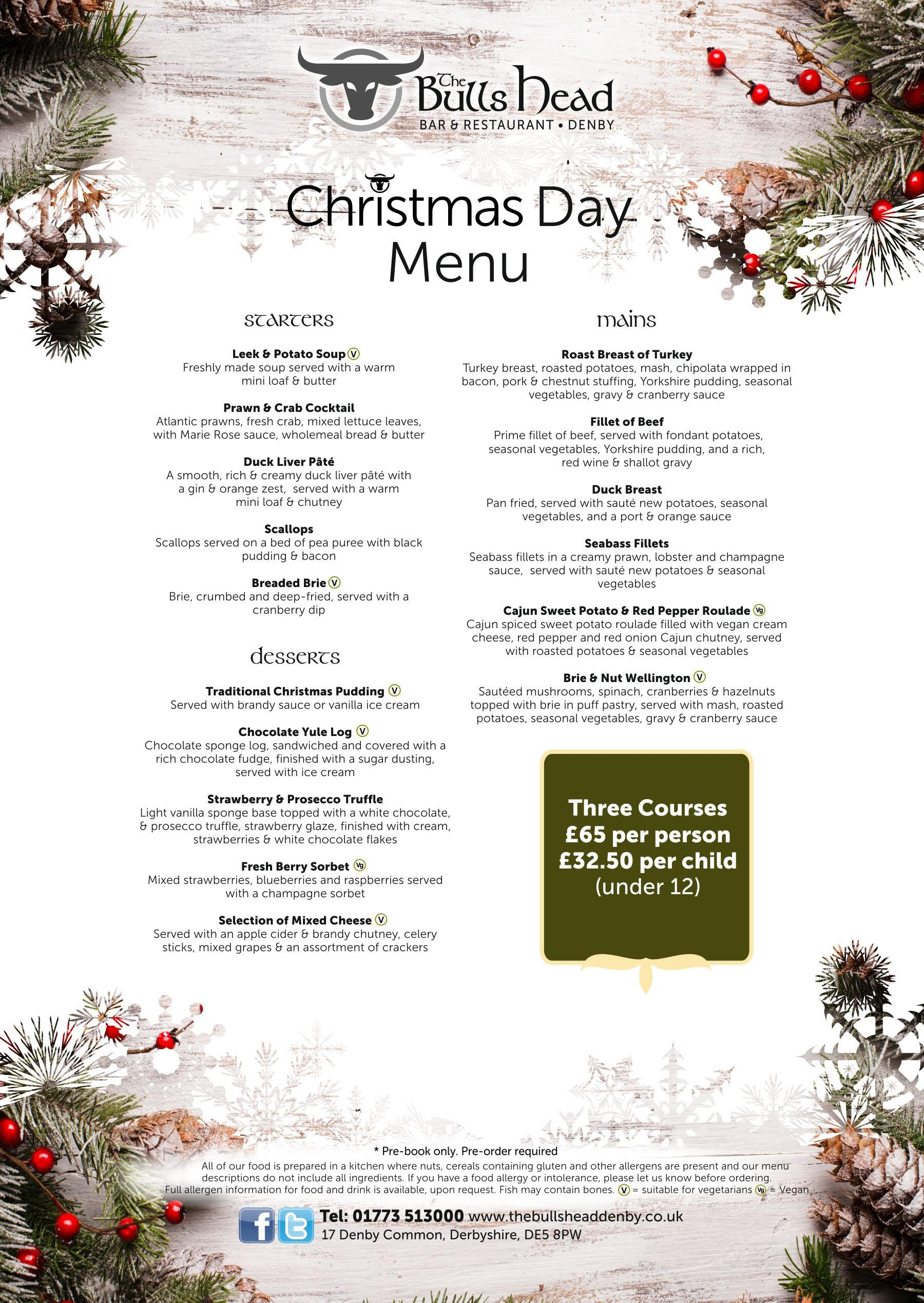 Christmas Day Menu 2019 | Bulls Head Denby