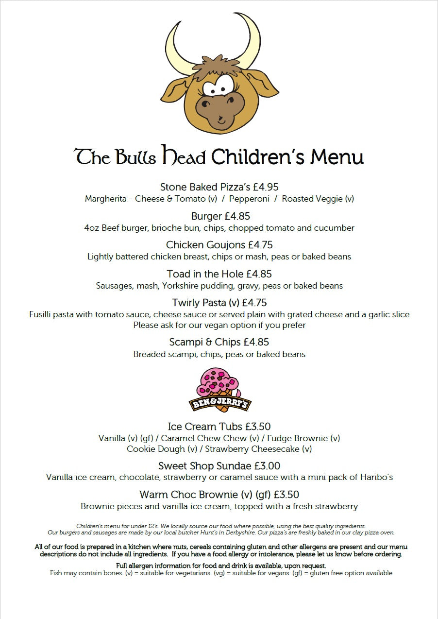 Children's Menu | The Bulls Head Denby