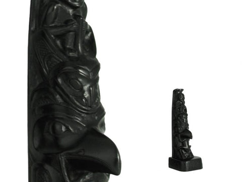 Black Stone Totem - Woman-Raven 5.25 inches
