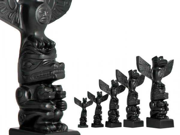 Raven, Bear with Cubs - Black Stone Totem