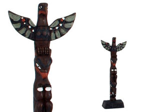 Handpainted Totem Pole:  Thunderbird, Bear and Raven 8""