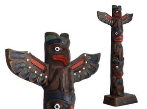 Handpainted Totem Pole: Thunderbird-Bear-Wolf 11""