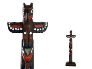 Handpainted Totem Pole:Thunderbird-Bear-Woman 6""