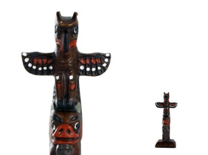 Handpainted Totem Pole: Thunderbird-Bear 4-1/2""